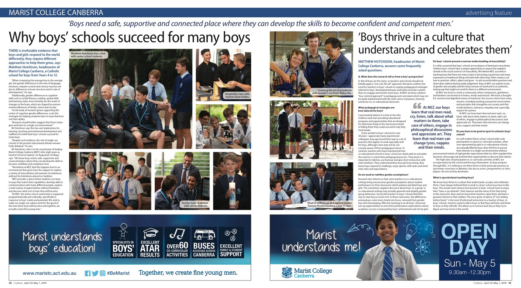 Double-Page Spread About Boys' Education For Marist College Canberra