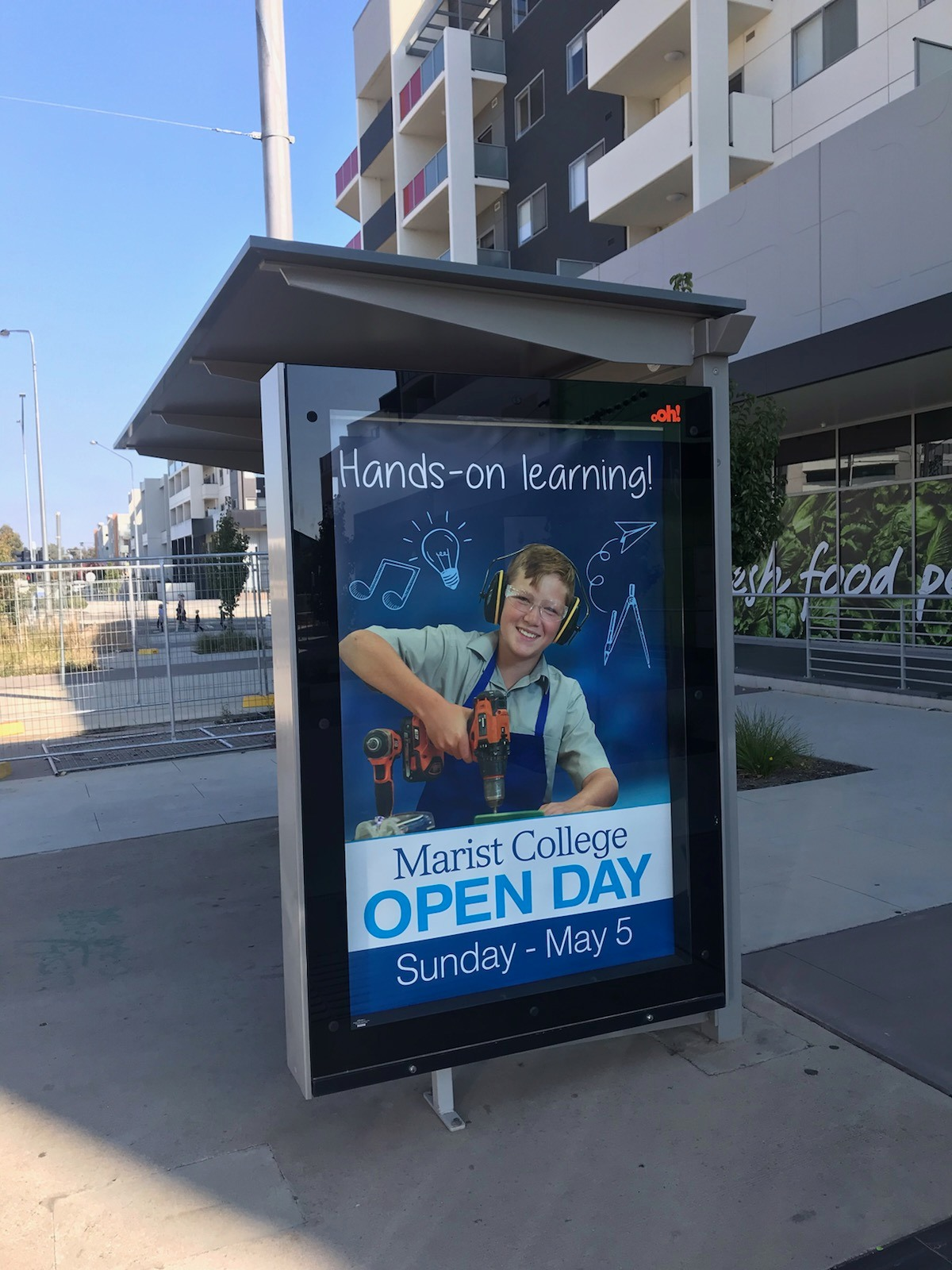 Bus Shelter Poster Promoting Marist College Open Day 2019