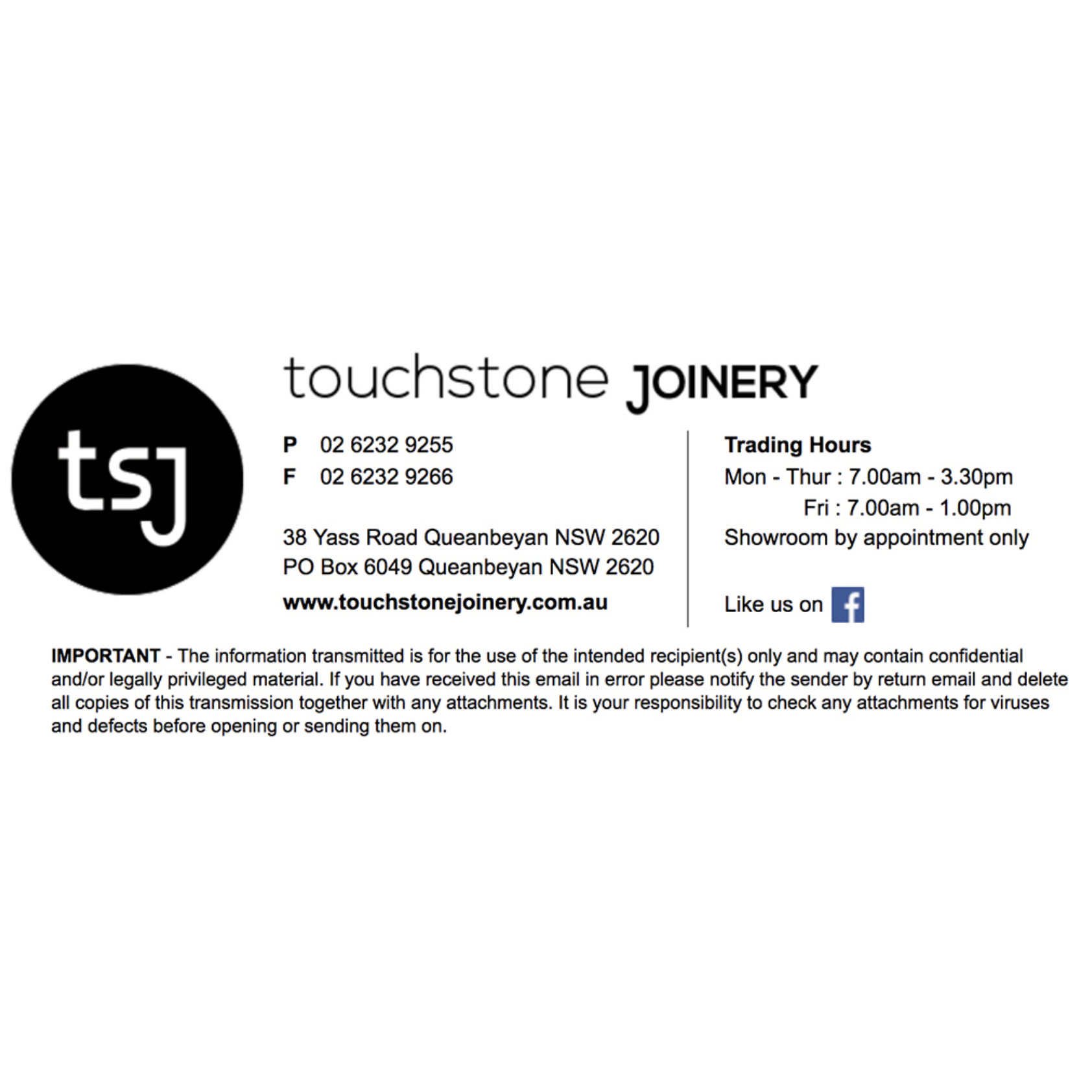 Touchstone Joinery Email Signature Design from Fresh Creative