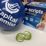 Capital Chemist Promotional Items with balloons, badges and 3D ad