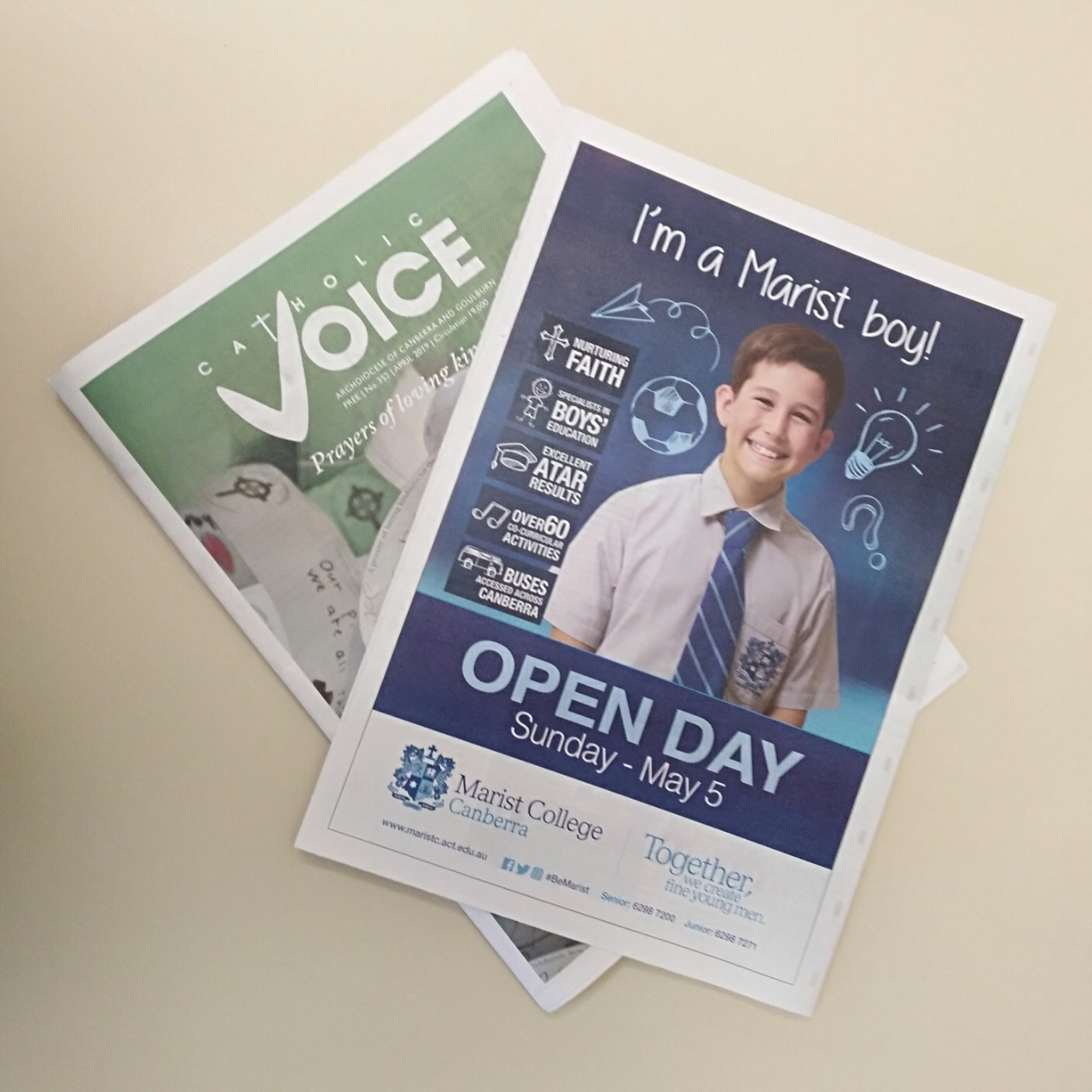 Catholic Voice Full Page Advertisement Promoting Marist College Open Day 2019