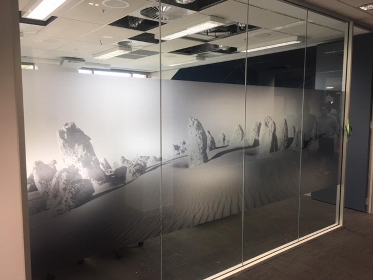 Custom printed window film on office windows
