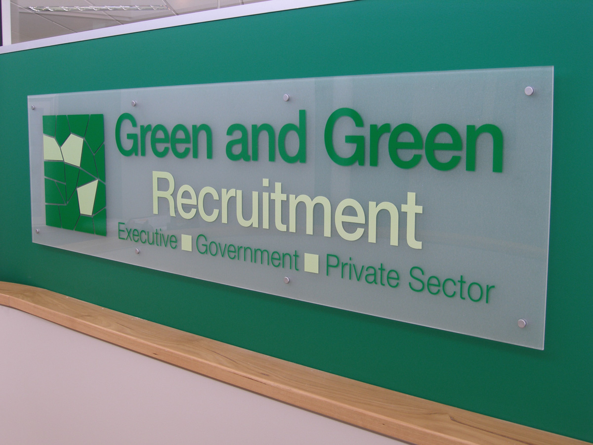 Green and Green Recruitment Perspex Office Signage