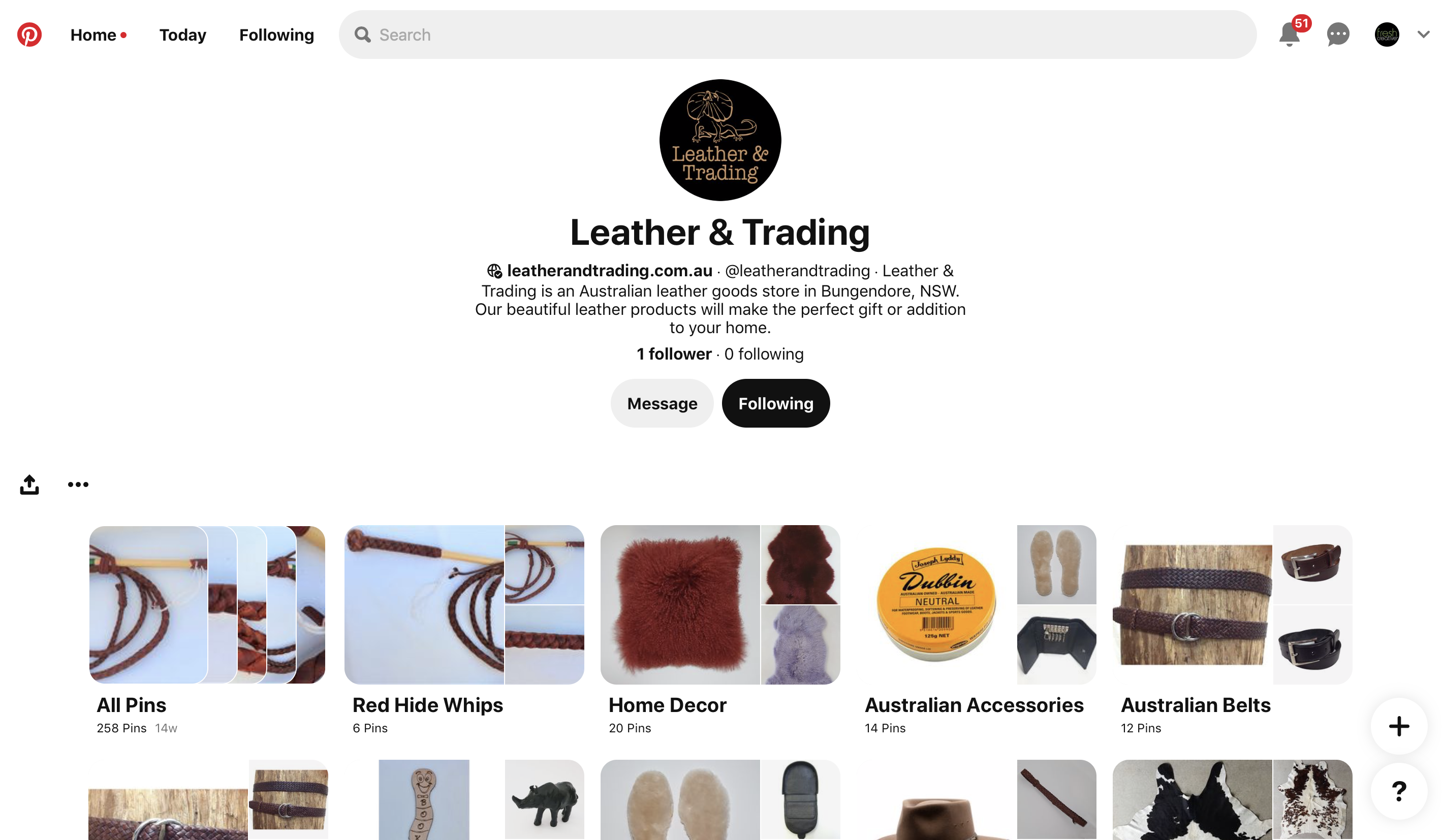 Leather and Trading Pinterest Account