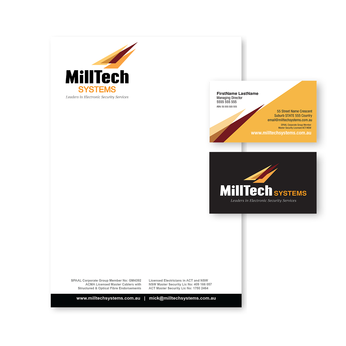Milltech Stationery business cards and corporate stationary