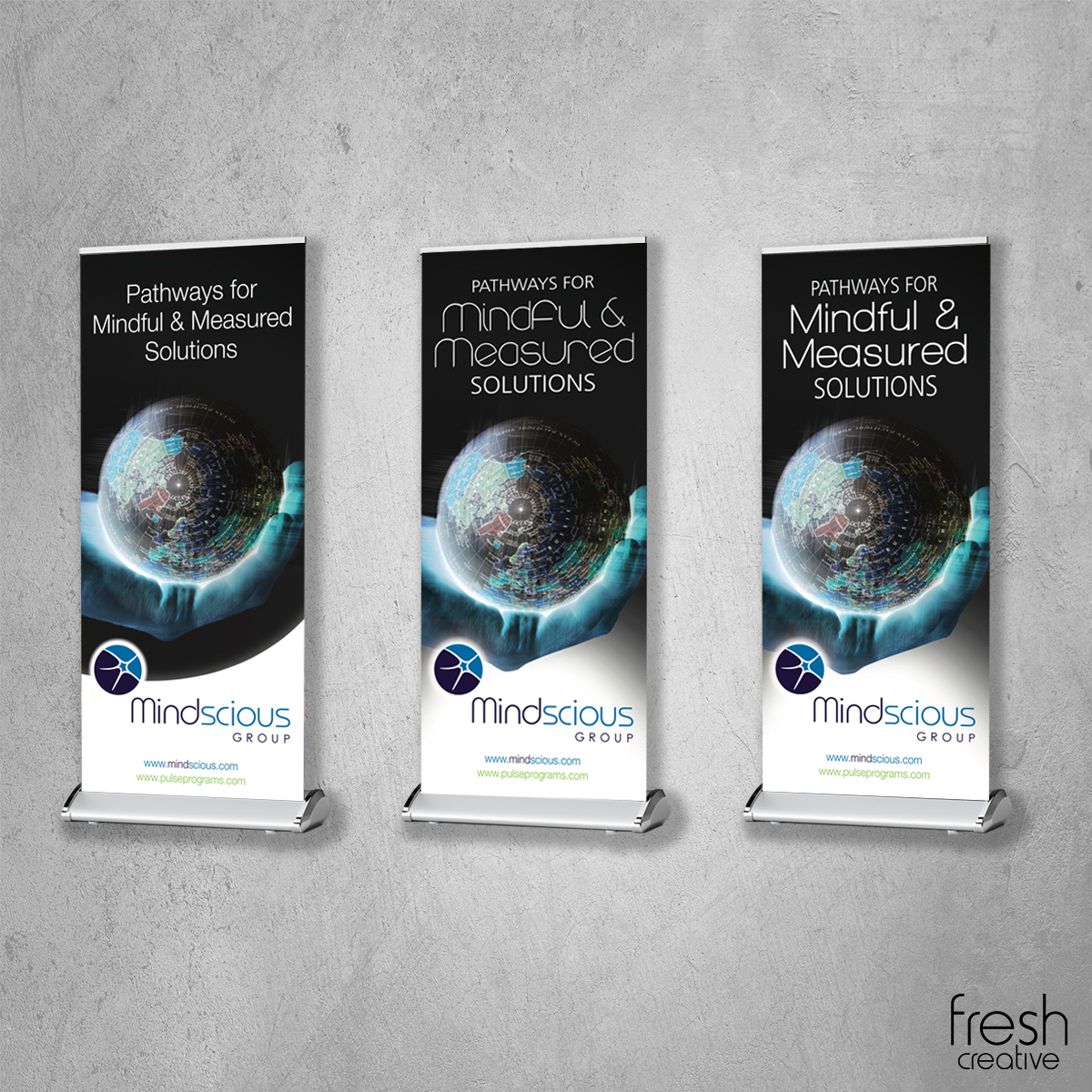 Custom pull up banners for Mindscious