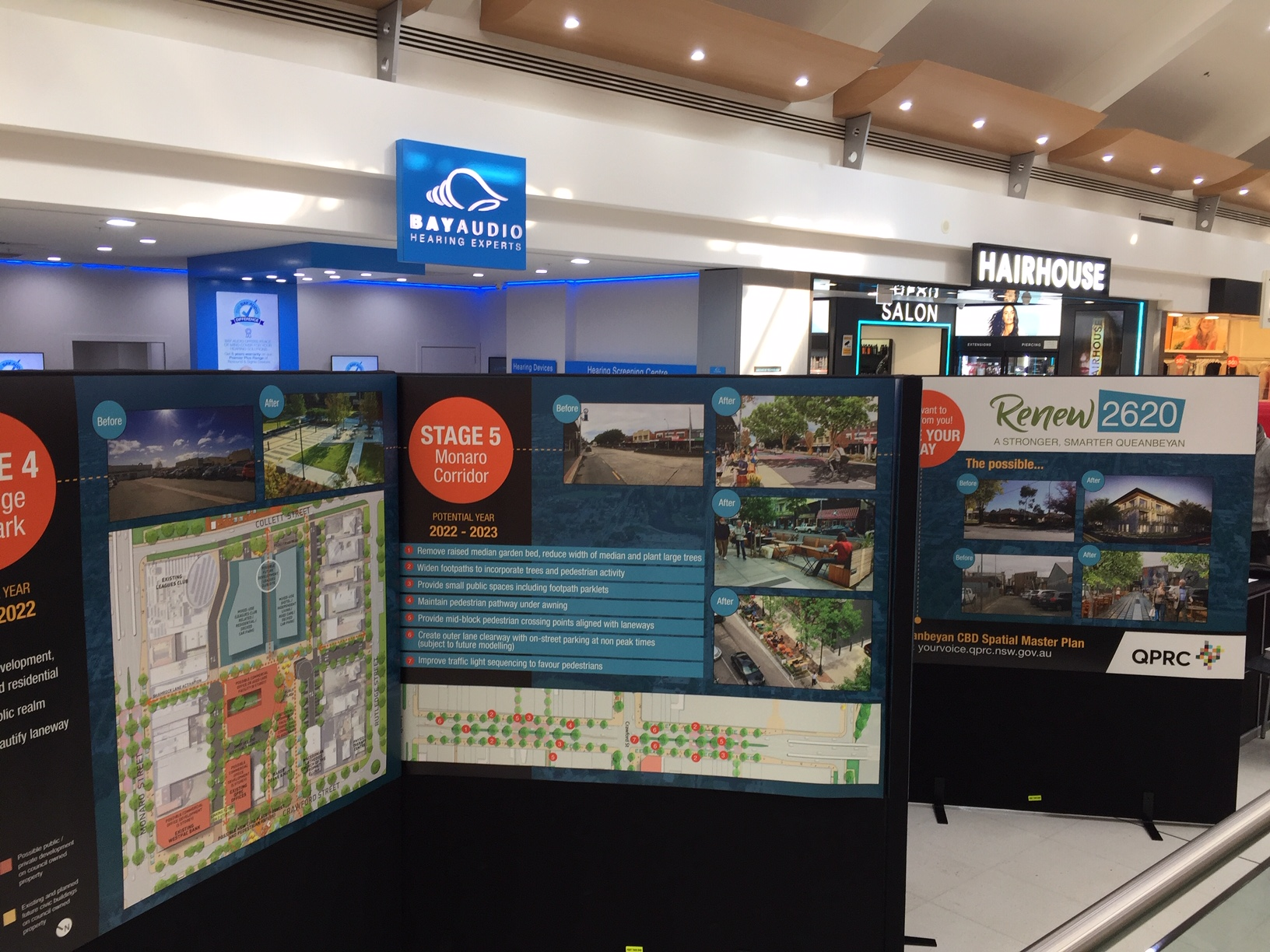 QPRC Display Panel signage in a shopping centre