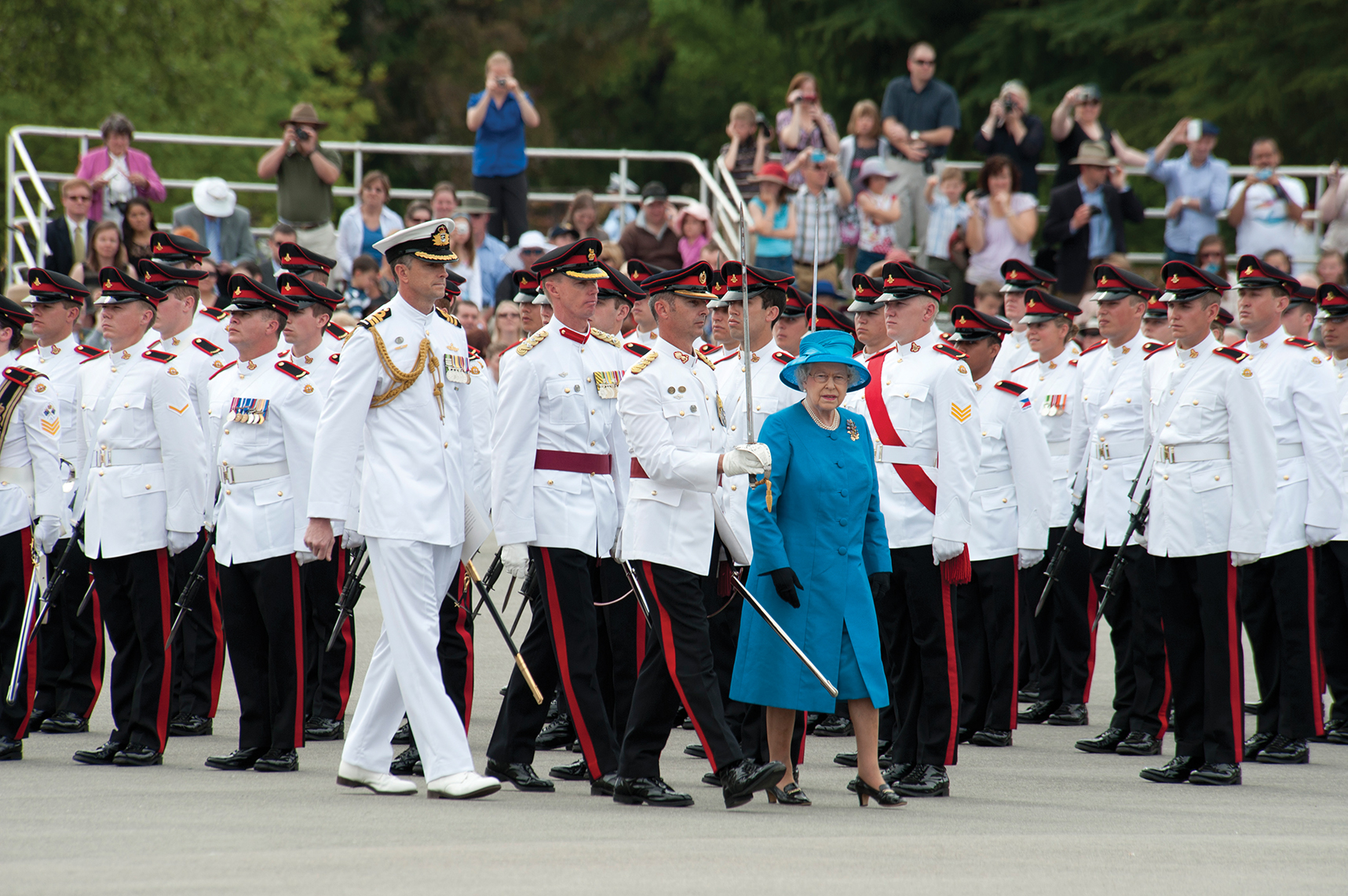 The Royal Military College Corps of Staff Cadets is presented with New Colours By Her Majesty the Queen.