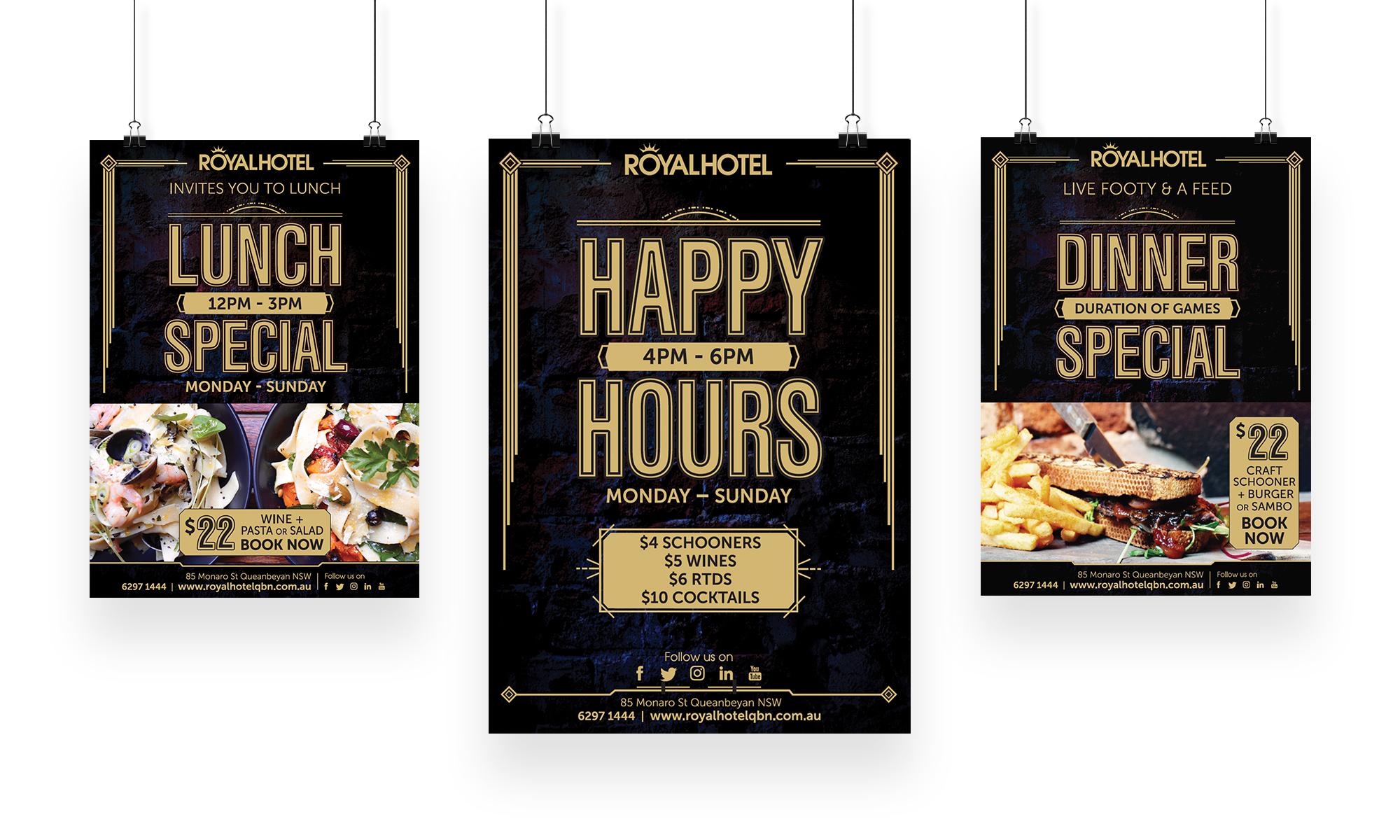 Royal Hotel Menu Posters-set of three
