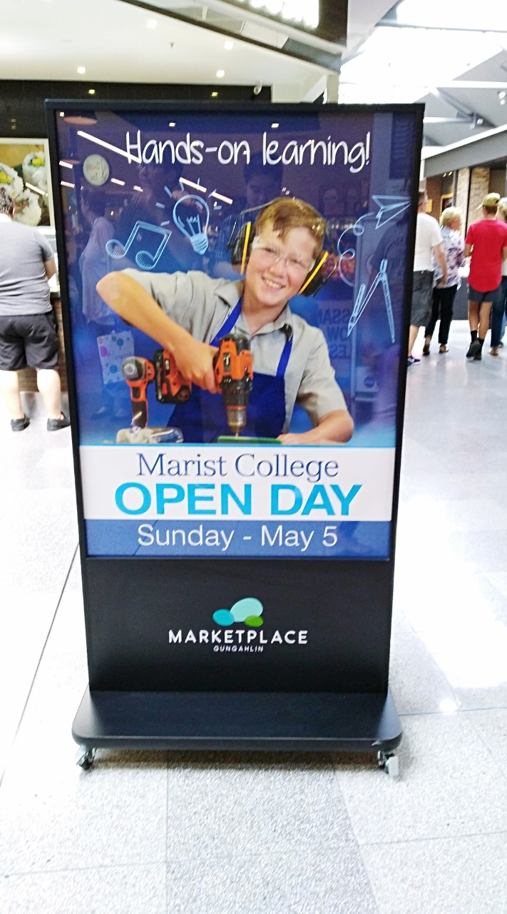 Shopping Centre Poster Promoting Marist College Open Day 2019