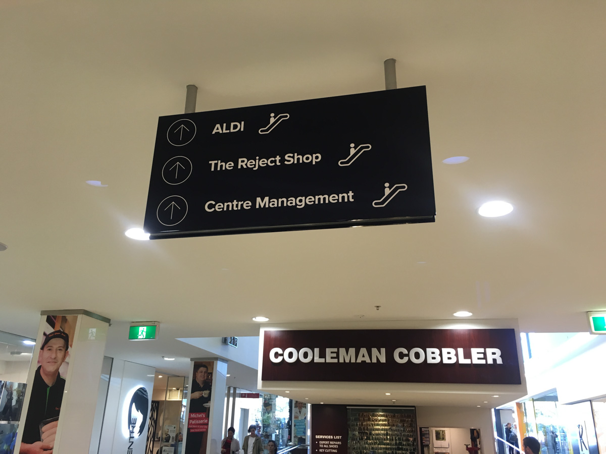 Shopping Centre Signage in a shopping centre