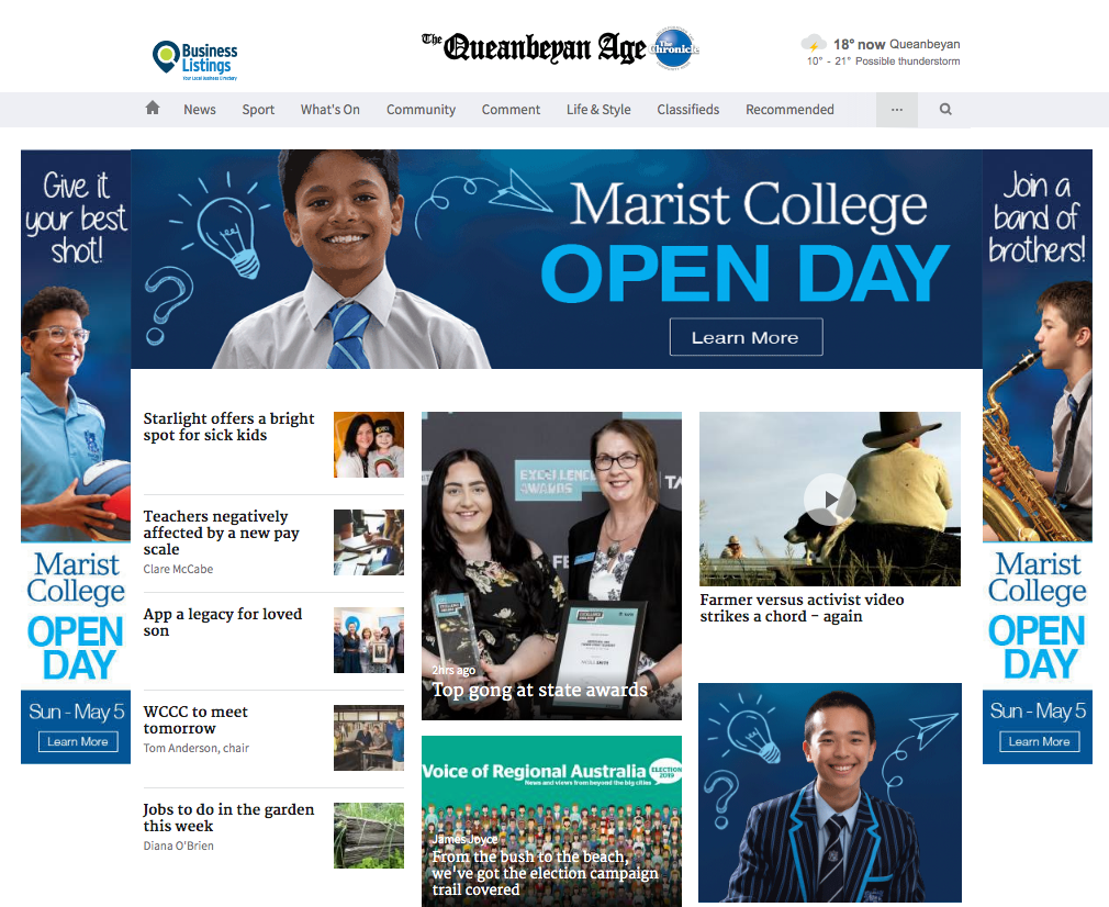 Website Buyout Promoting Marist College Open Day 2019