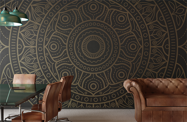 Custom printed wallpaper with patterned image