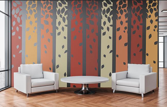 Custom printed wallpaper with stripe pattern