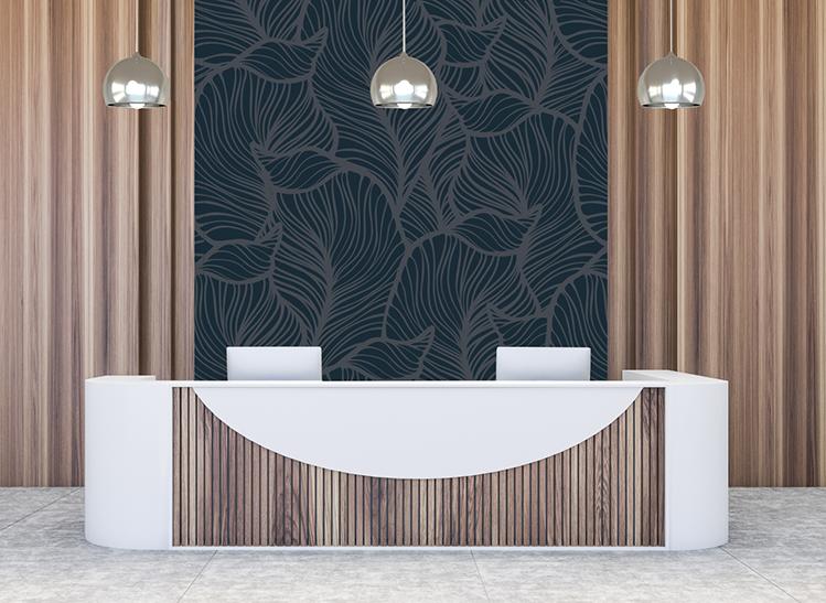 custom printed wallpaper in a lobby