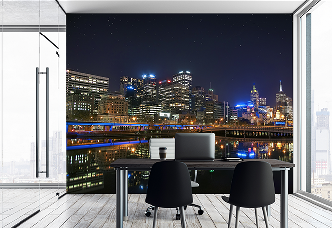 Custom printed wallpaper with night lights landscape image