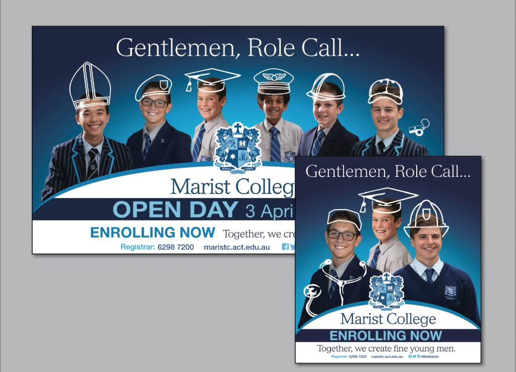 Marist College Canberra partnered with Canberra marketing firm Fresh Creative for their 'Role Call' enrolment campaign