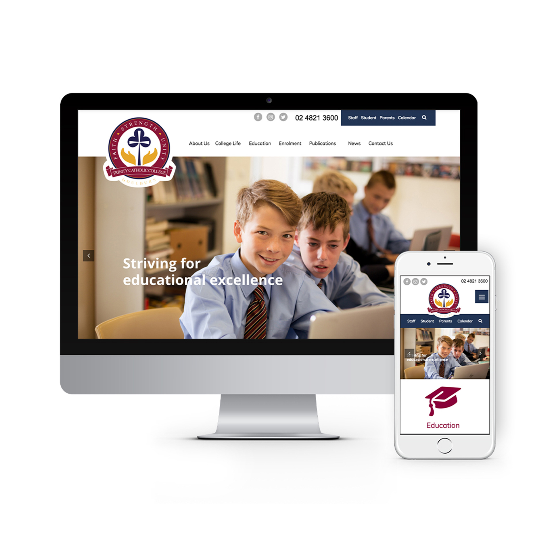 Trinity College Canberra Website Design 2020